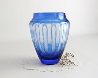 Vintage Cobalt Blue Art Glass Vase modern minimal simple home decor bright colorful vibrant