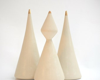 READY TO SHIP : Minimalist Porcelain Christmas Trees //Set of Three