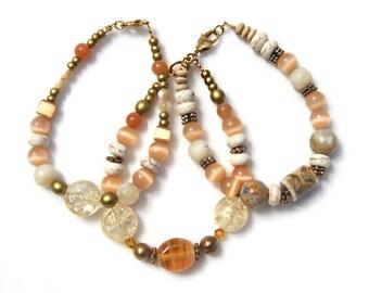Beaded Bracelet Set in Earth Tones // Bohemian Layering Bracelets // Champagne Glass and Gemstone // Boho Bracelet Set // Boho Chic Jewelry