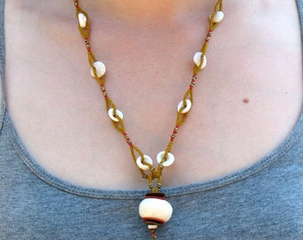 White, Yellow and Red African Glass Beads with Seed Beads and Bone and Brass Drop -Joie de Vivre Necklace - GIFTS UNDER 90 -