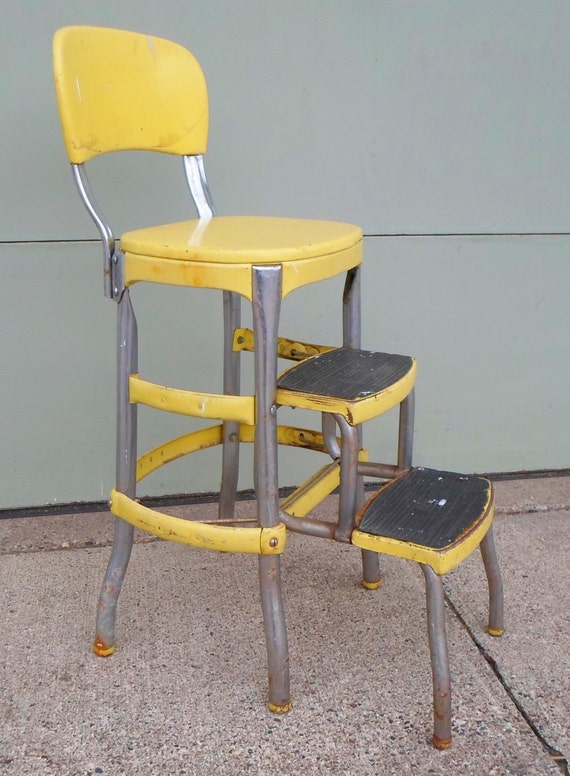 Vintage Cosco Chair Step Stool Yellow Mid Century