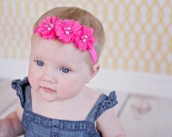 Headband, Bright Pink Baby Headband, Infant Headband, Newborn Headband -Bright Pink Headband, Chiffon and Pearls Flower Headband