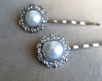 Pearl Hairpins 2 pc, ivory Bridal Pearl hairpin, vintage, Bridal hair accessories, bridal hairpin, silver, bobby pin