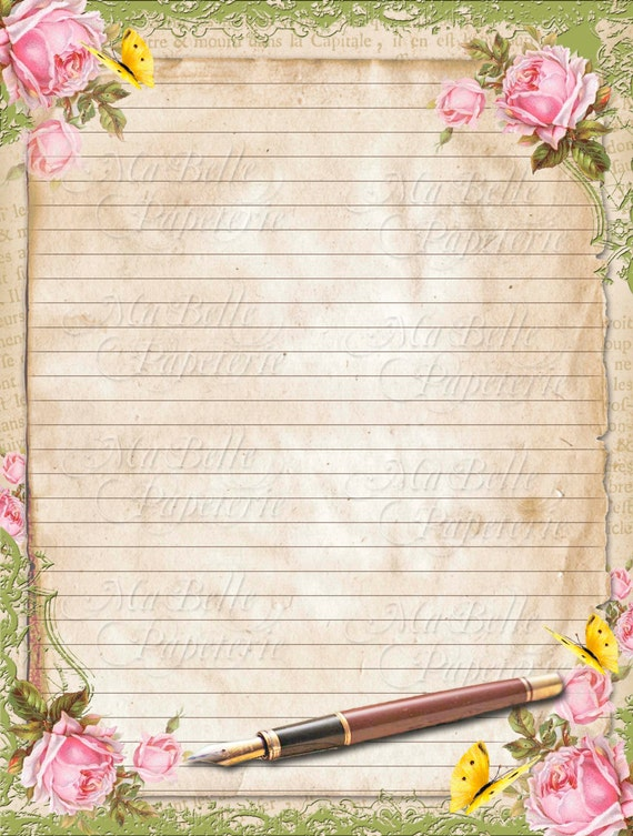 Vintage Style Shabbby Chic Lined Letter Writing Paper with – Lined Letter Writing Paper