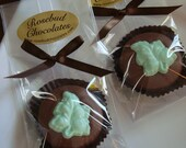 12 Chocolate Green Fall Leaf Oreo Cookie Birthday Party Wedding Bridal Favors Leaves