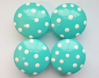 Hand Painted Bahama Blue Drawer Knobs with Polka Dots