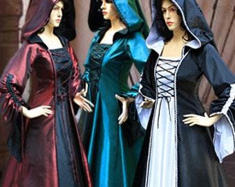 Renaissance Medieval Maiden Dress Gown with hood Demoisellein Costume Handmade Multiple Colors