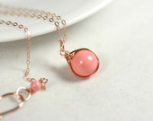 Rose Gold Pink Coral Necklace Wire Wrapped Jewelry Handmade Rose Gold Necklace Rose Gold Jewelry Pink Necklace Swarovski Pearl Necklace
