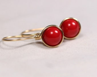 Gold Red Coral Earrings Wire Wrapped Jewelry Handmade Gold Earrings Gold Jewelry Red Earrings Red Coral Jewelry Rose Gold Earrings