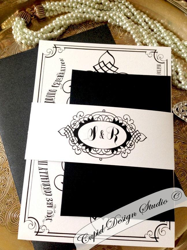 Black And White Vintage Elegant Wedding Invitation Victorian Royal