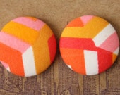 Fabric Covered Button Earrings / Wholesale Jewelry / Geometric Print / Bulk Discount Available / Studs / Gifts for Her
