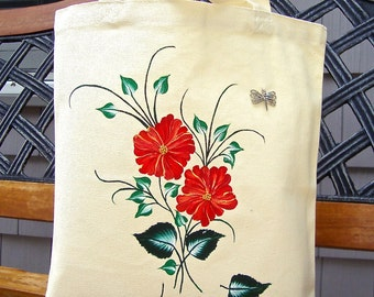 Tote Bag Hand Painted With Orange Flowers and A Butterfly, Teacher Gift, Fun School Bag, Tote Bag, Gifts for Her, Beach Bag