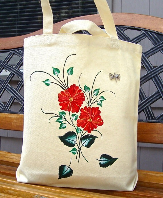 CLEARANCE SALE Hand Painted Tote Bag With Orange Flowers and A Butterfly, Teacher Gift, Gift For Mom, Tote Bag, Gifts for Her