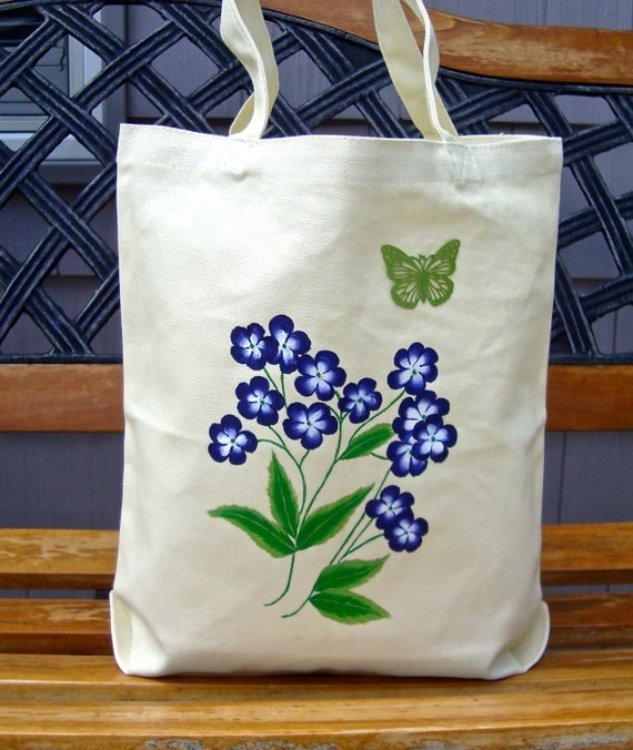 SALE Use coupon BAGS50 and save 50%, Painted Tote Bag with Blue Flowers and Green Butterfly Charm, Mothers Day Gift, Gifts For Her