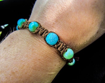 Teal Beads and Brown Hemp - Bracelet