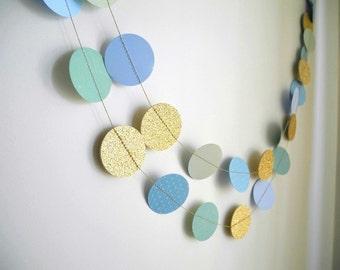 Gold light blue garland, glitter garland, circle paper , teal baby shower decor, nursery decor, boy birthday party garland