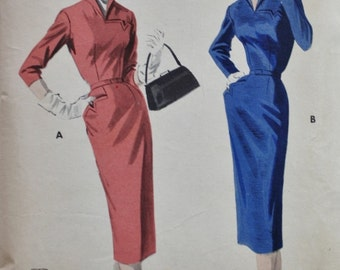 1950s Slim Dress Pattern /Wing Collar/ Curved Bodice/ Butterick 7479/ Vintage Sewing Pattern /Bust 32