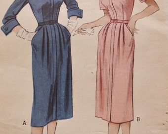 1950s Zip Front Dress Pattern/ Butterick 5877/ UNCUT /Vintage Sewing /Bust 30