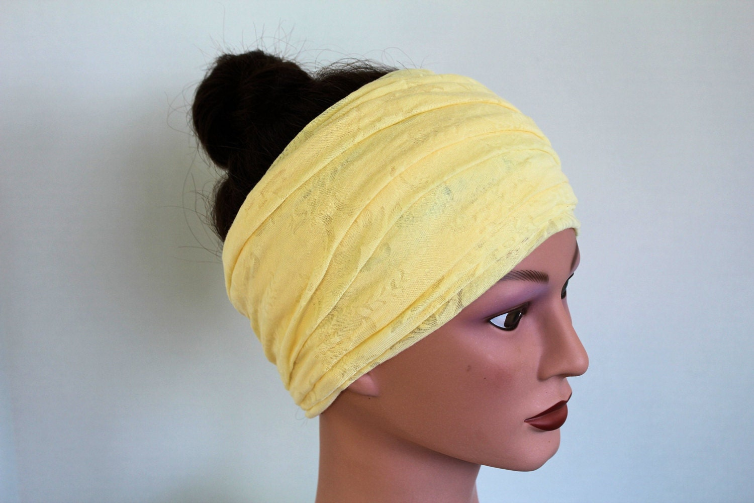 yellow scarf yellow hair wrap yellow headband