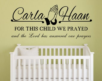 For This Child We Prayed Wall Decal Decor Art Quote