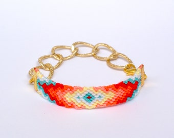 Chunky Chain Friendship Bracelet. Aztec.