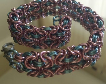Cotton Candy! Pink & Blue Chainmaille Bracelet CUTE