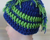 Crochet Mohawk Hat - Yarn Mohawk Hat - Fun and Funky Hat for Boys - School Colors or Sports Team Colors