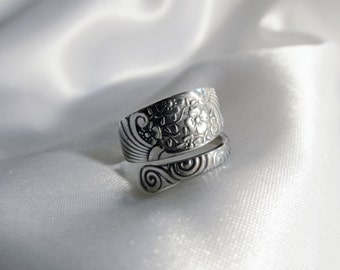 Forget Me Not Spoon Ring Sterling Silver Antique Spoon Symbolic of Journey of Life Treasure Grotto