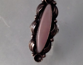 Huge Vintage Ring Sterling Silver Native Pink Stone
