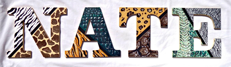 African Animal Print Painted Letters African Safari Nursery