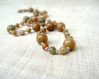Autumn Jasper Necklace - Colorful Seasonal Jewelry - Warm Tone Necklace - Beaded Necklace