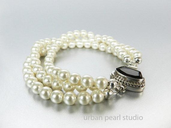 Multi Strand Pearl Bracelet w Garnet Box Clasp, Pearl Bridal Jewelry, Triple Strand Pearl Bracelet, Swarovski Pearls