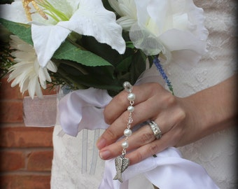 Wedding Bouquet Charm-In Loving Memory-Bouquet Pin-Bridal Bouquet Memorial-Angel Charm-Bouquet Clip-Guardian Angel-Bridal Accessory