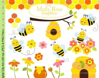 SALE bees clip art ,Digital Clip Art cute bumble bee,honey, Personal and Small Commercial Use,Invitations,flowers,beehive,M.62