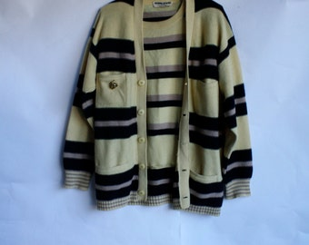 Vintage Sonia Rykiel / Sonia Rykiel Sweater Set / Vintage Cardigan Set / 1980's Wool Sweater Set L