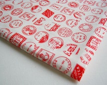 Cotton Fabric Cotton vintage White Post Office Mark Stamp fabric, Vintage Stamp, Quilt Summer Patchwork, gift wrap, curtain, ipad case