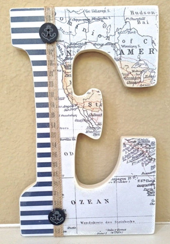 Nautical baby boy name wooden wall letters personalized for Baby name letters decoration