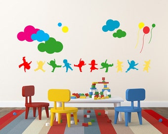 Vinyl Kids Wall Decal Clouds Balloons Sticker Home Decor Wall Decals Sticker Removable Vinyl Wall Decal