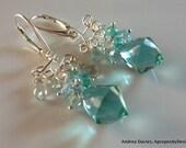 RESERVED for Wendy B. Sterling Silver & Aqua Earrings, Aqua Green or Light Blue Chandelier Drop Earrings, Small Luxury Jewelry