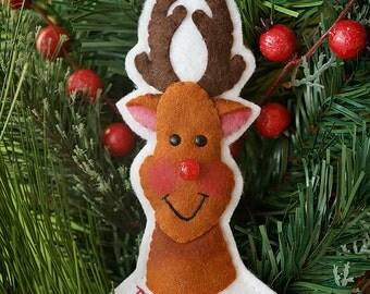 Santa, Rudolph and Reindeer - PDF pattern Wool Felt Ornaments