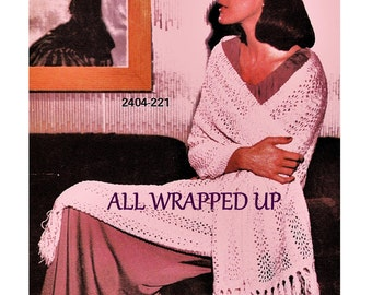 Digital Download Knitted Fringed Shawl Pattern- Instant PDF Beautiful Retro Generous Length Knit Wrap - Knitting Supplies Knitting Patterns