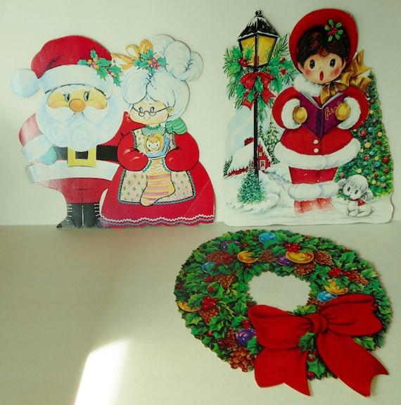 Christmas Cutout Decorations: Vintage Cardboard Christmas Cutouts Window Decorations