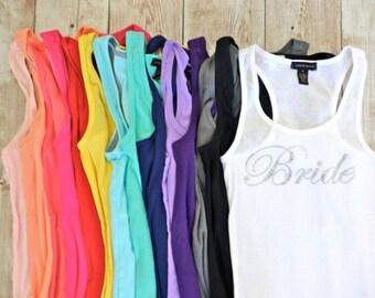 4 Bridesmaid Tank Top Shirts. Bride Tank Shirt. Bridesmaid Shirts. Bridesmaid Tanks. Bachelorette Party Shirts. Bridesmaids Gift Bride Gift