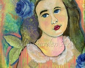 Mixed Media Girl Painting with Blue Roses and Lace / 9 inch by 12 inch / Girl Art Acrylic Painting