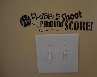 Home Decor Wall Decal Basketball Dribble Shoot Rebound Score Lightswitch Boys Girls Room Decor Sports Playroom Decorating Sports Ball Net