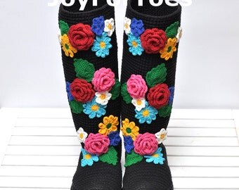 Crochet Boots for the Street Summer Evening Fashion Folk Tribal Boho Boots Made to Order