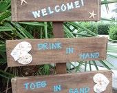 BEACH WEDDING directional sign w/ Seashells