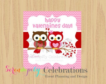 Instant Download: DIY Printable Favor Tags- Valentine's Day Owls Favor Tags -Gift Tags -Square Thank You Tags -School Treats -Holiday