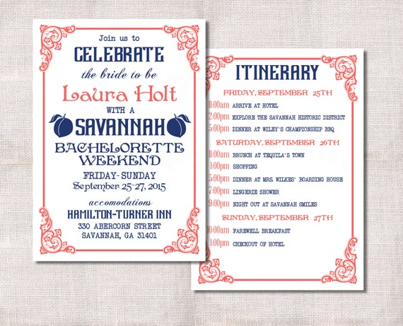 Bachelorette Party Weekend Invitation And Itinerary Custom - Party invitation template: bachelorette party itinerary template