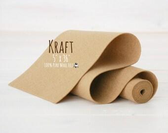 "100% Merino Wool Felt Roll - 5"" x 36"" Wool Felt Roll - Wool Felt Color Kraft-7040 - Kraft Wool Felt - Skin Color Wool Felt  - Waldorf Doll"